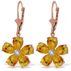 Genuine 4.43 Ctw Citrine & Diamond Earrings Jewelry