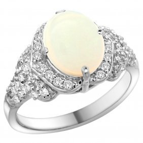 Natural 1.93 Ctw Opal & Diamond Engagement Ring 14k