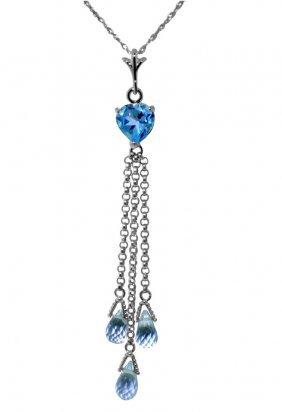 Genuine 4.75 Ctw Blue Topaz Necklace Jewelry 14kt White
