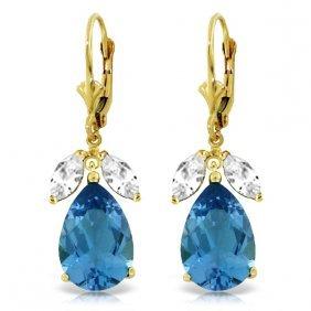 Genuine 13 Ctw Blue Topaz & White Topaz Earrings