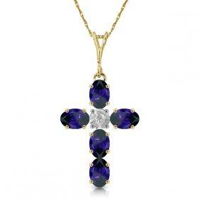 Genuine 1.88 Ctw Sapphire & Diamond Necklace Jewelry