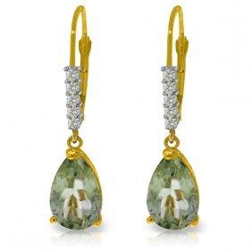Genuine 3.15 Ctw Green Amethyst & Diamond Earrings