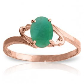 Genuine 0.75 Ctw Emerald Ring Jewelry 14kt Rose Gold -