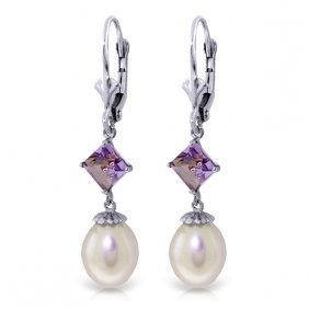 Genuine 9.5 Ctw Pearl & Amethyst Earrings Jewelry 14kt