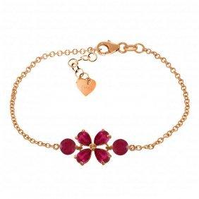 Genuine 3.15 Ctw Ruby Bracelet Jewelry 14kt Rose Gold -