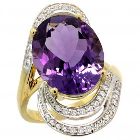 Natural 11.2 Ctw Amethyst & Diamond Engagement Ring 14k