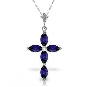 Genuine 1.10 Ctw Sapphire & Diamond Necklace Jewelry