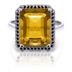 Genuine 5.8 Ctw Citrine & Black Diamond Ring Jewelry