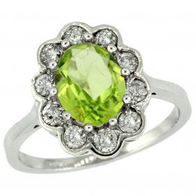 Natural 2.73 Ctw Peridot & Diamond Engagement Ring 14k