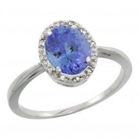 Natural 1.35 Ctw Tanzanite & Diamond Engagement Ring