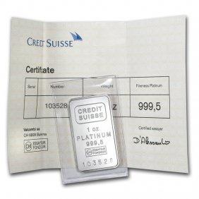 One Pc. 1 Oz 0.9995 Fine Platinum Bar - Credit Suisse
