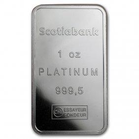 One Pc. 1 Oz 0.9995 Fine Platinum Bar - Scotiabank W/