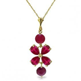 Genuine 3.15 Ctw Ruby Necklace Jewelry 14kt Yellow Gold
