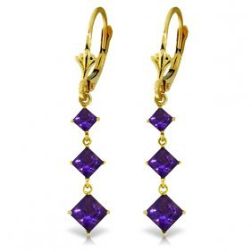 Genuine 4.79 Ctw Amethyst Earrings Jewelry 14kt Yellow