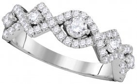 0.85 Ctw Diamond Ladies Ring 14kt White Gold -