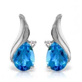 Genuine 5.06 Ctw Blue Topaz & Diamond Earrings Jewelry