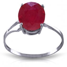 Genuine 3.5 Ctw Ruby Ring Jewelry 14kt White Gold -