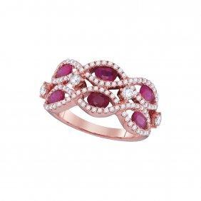 1.87 Ctw Ruby & Diamond Ladies Ring 18kt Rose Gold -