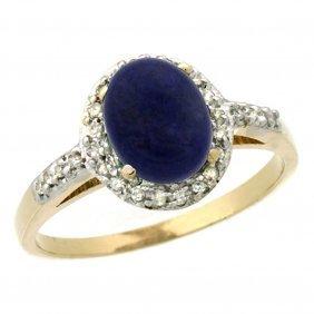 Natural 1.13 Ctw Lapis & Diamond Engagement Ring 10k