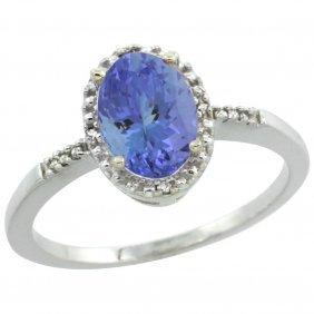 Natural 1.33 Ctw Tanzanite & Diamond Engagement Ring