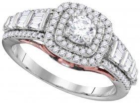 1.62 Ctw Diamond Bridal Ring 10kt White Gold -