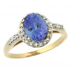 Natural 1.43 Ctw Tanzanite & Diamond Engagement Ring