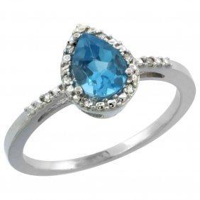 Natural 1.53 Ctw Swiss-blue-topaz & Diamond Engagement