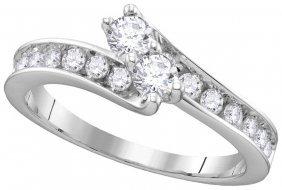 0.91 Ctw Diamond Bridal Ring 14kt White Gold -