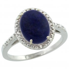 Natural 2.52 Ctw Lapis & Diamond Engagement Ring 10k