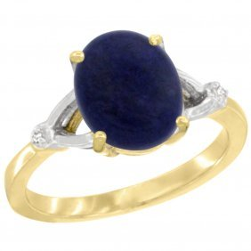 Natural 2.51 Ctw Lapis & Diamond Engagement Ring 14k