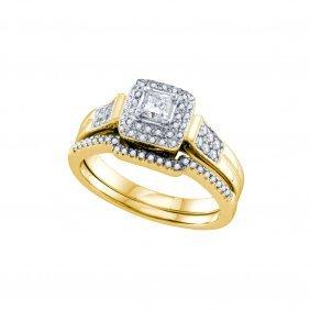 0.71 Ctw Diamond Bridal Set Ring 14kt Yellow Gold -