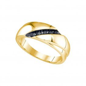 0.3 Ctw Black Diamond Men's Ring 10kt Yellow Gold -