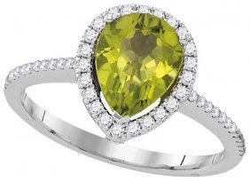 1.58 Ctw Peridot & Diamond Ladies Ring 14kt White Gold