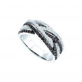 0.85 Ctw White & Black Diamond Ladies Ring 14kt White