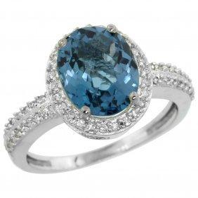 Natural 2.56 Ctw London-blue-topaz & Diamond Engagement