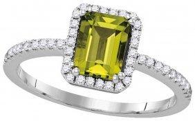 1.2 Ctw Peridot & Diamond Ladies Ring 14kt White Gold -