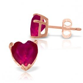 Genuine 2.9 Ctw Ruby Earrings Jewelry 14kt Rose Gold -