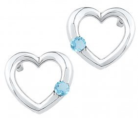 0.15 Ctw Blue Topaz Earrings White Rhodium Silver -