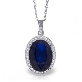 Genuine 6.58 Ctw Sapphire & Diamond Necklace Jewelry