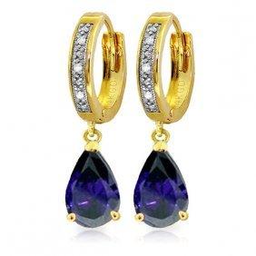 Genuine 3.53 Ctw Sapphire & Diamond Earrings Jewelry
