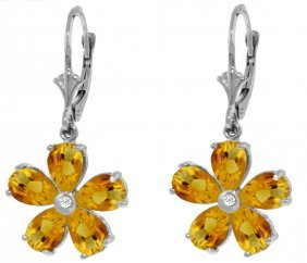 Genuine 4.43 Ctw Citrine & Diamond Earrings Jewelry