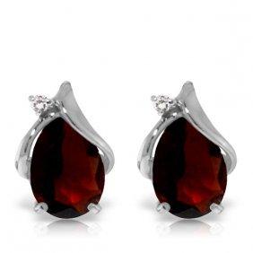 Genuine 4.06 Ctw Garnet & Diamond Earrings Jewelry 14kt