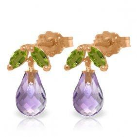 Genuine 3.4 Ctw Amethyst & Peridot Earrings Jewelry