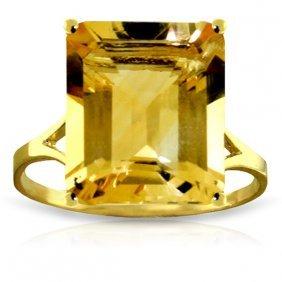 Genuine 6.5 Ctw Citrine Ring Jewelry 14kt Yellow Gold -