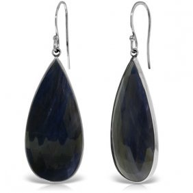 Genuine 42 Ctw Sapphire Earrings Jewelry 14kt White