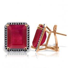Genuine 14.9 Ctw Ruby & Black Diamond Earrings Jewelry
