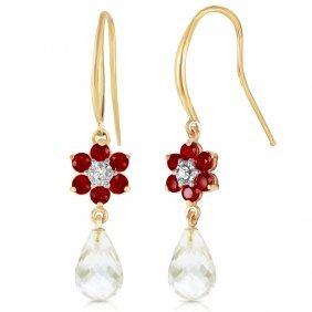 Genuine 5.51 Ctw Rubies, White Topaz & Diamond Earrings