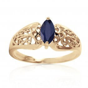 Genuine 0.2 Ctw Sapphire Ring Jewelry 14kt Yellow Gold