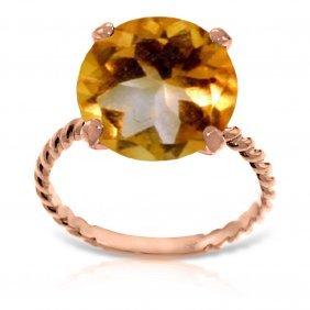 Genuine 5.5 Ctw Citrine Ring Jewelry 14kt Rose Gold -