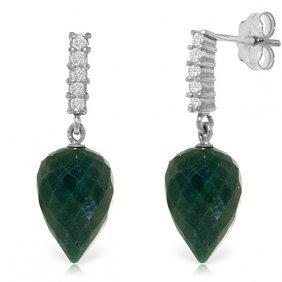 Genuine 25.95 Ctw Green Sapphire Corundum & Diamond